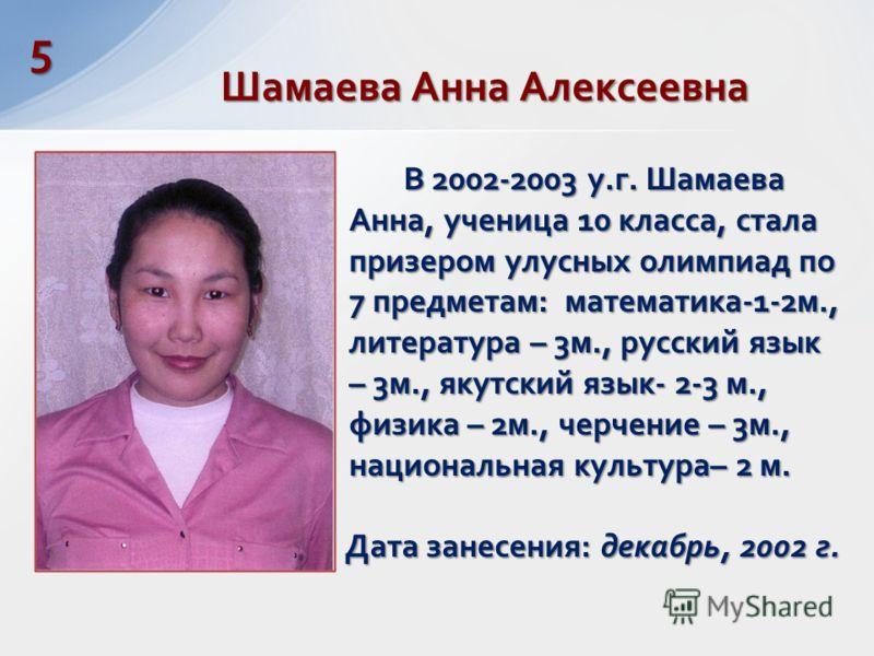 В 2002-2003 у.г. Шамаева Анна, ученица 10 класса, стала призером улусных олимпиад по 7 предметам: математика-1-2м., литература – 3м., русский язык – 3м., якутский язык- 2-3 м., физика – 2м., черчение – 3м., национальная культура– 2 м. Дата занесения: