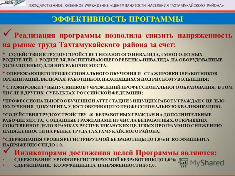 Реализация программы позволила снизить напряженность на рынке труда Тахтамукайского района за счет: СОДЕЙСТВИЯ В ТРУДОУСТРОЙСТВЕ 1 НЕЗАНЯТОГО ИНВАЛИДА, 4 МНОГОДЕТНЫХ РОДИТЕЛЕЙ, 1 РОДИТЕЛЯ, ВОСПИТЫВАЮЩЕГО РЕБЕНКА-ИНВАЛИДА, НА ОБОРУДОВАННЫЕ (ОСНАЩЕННЫЕ
