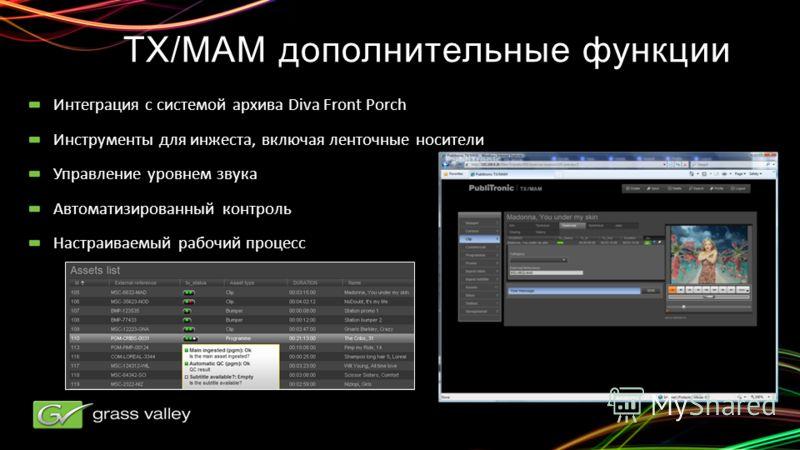 TX/MAM дополнительные функции Интеграция с системой архива Diva Front Porch Инструменты для инжеста, включая ленточные носители Управление уровнем звука Автоматизированный контроль Настраиваемый рабочий процесс