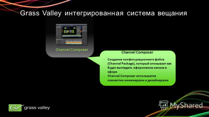 Channel Composer -Создание конфигурационного файла (Channel Package), который описывает как будет выглядеть оформление канала в эфире -Channel Composer используется совместно инженерами и дизайнерами Channel Composer -Создание конфигурационного файла