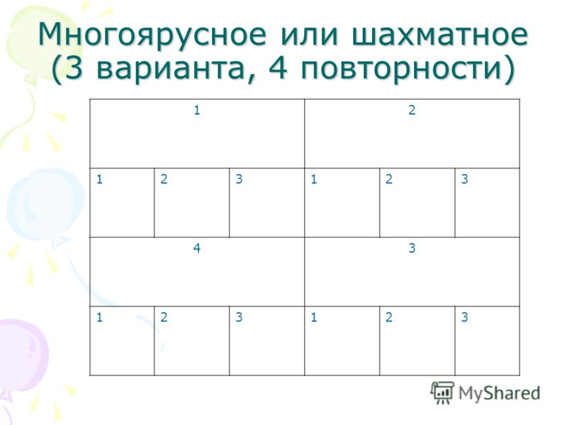Многоярусное или шахматное (3 варианта, 4 повторности) 12 123123 43 123123