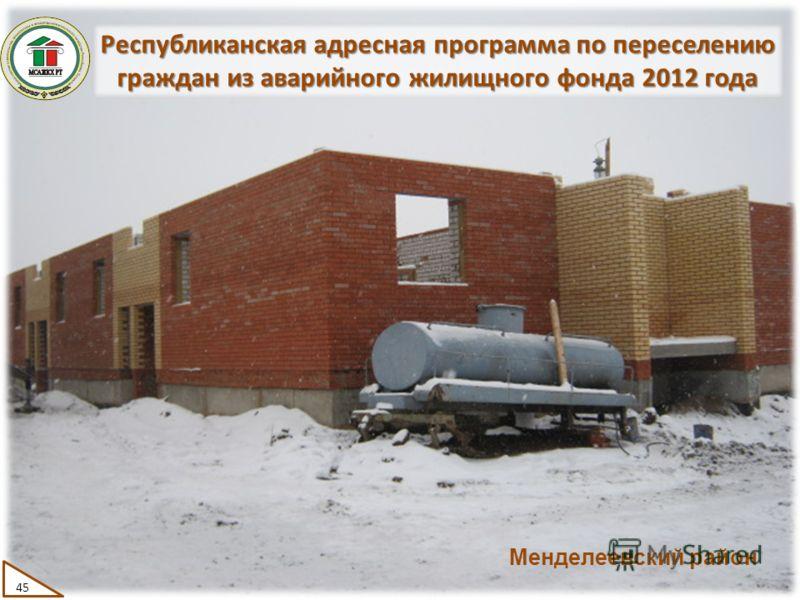 Республиканская адресная программа по переселению граждан из аварийного жилищного фонда 2012 года 45 Менделеевский район
