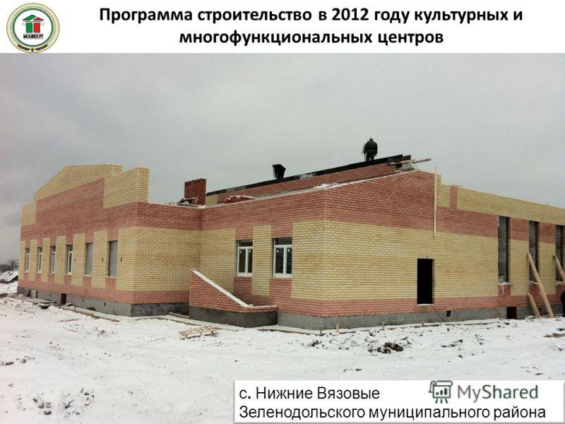 Программа строительство в 2012 году культурных и многофункциональных центров 48 с. Нижние Вязовые Зеленодольского муниципального района