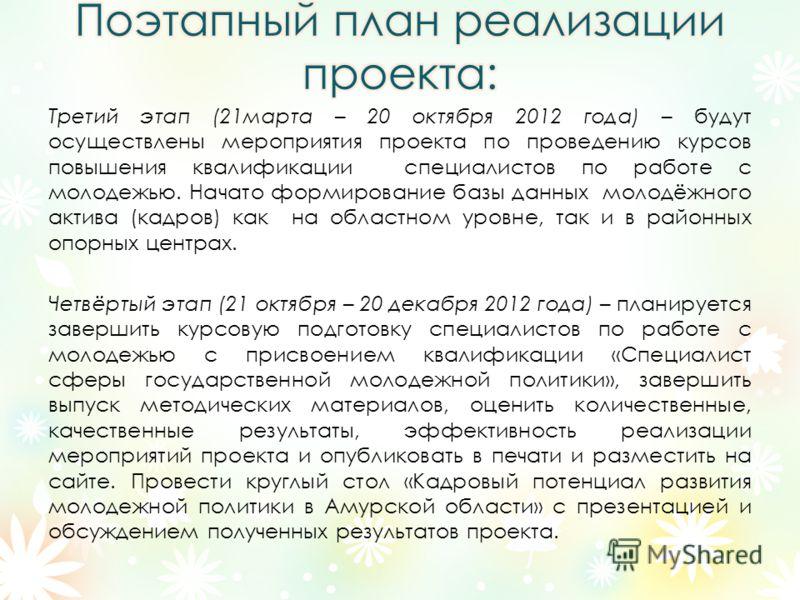 Третий этап (21марта – 20 октября 2012 года) – будут осуществлены мероприятия проекта по проведению курсов повышения квалификации специалистов по работе с молодежью. Начато формирование базы данных молодёжного актива (кадров) как на областном уровне,