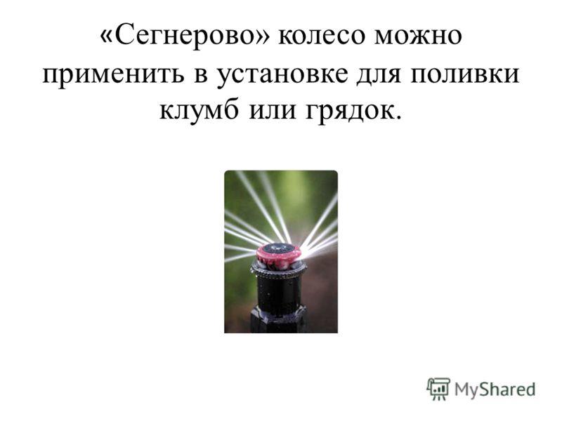 « Сегнерово» колесо можно применить в установке для поливки клумб или грядок.
