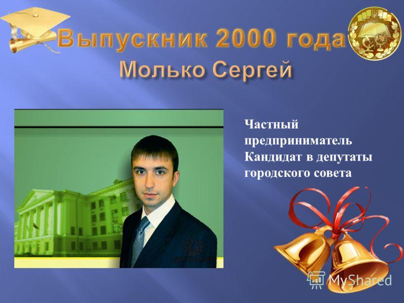 Частный предприниматель Кандидат в депутаты городского совета