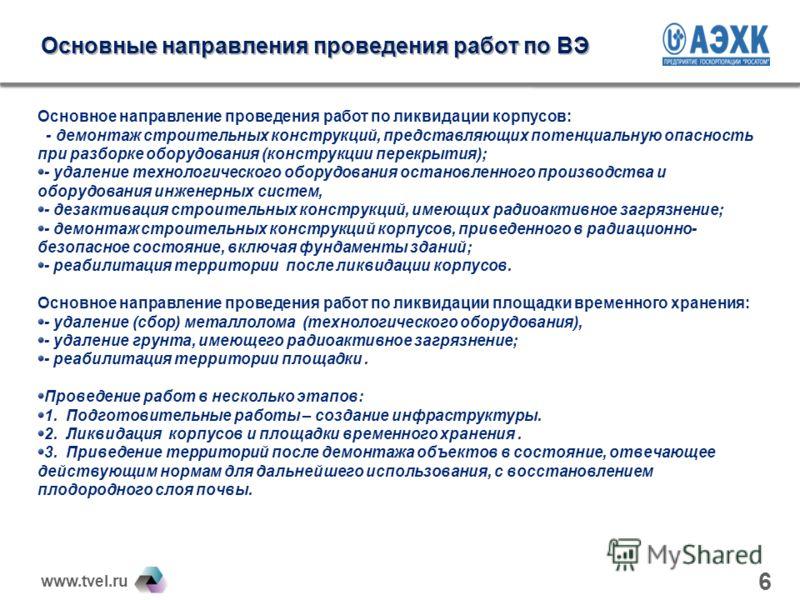 www.tvel.ru Основные направления проведения работ по ВЭ Основное направление проведения работ по ликвидации корпусов: - демонтаж строительных конструкций, представляющих потенциальную опасность при разборке оборудования (конструкции перекрытия); - уд