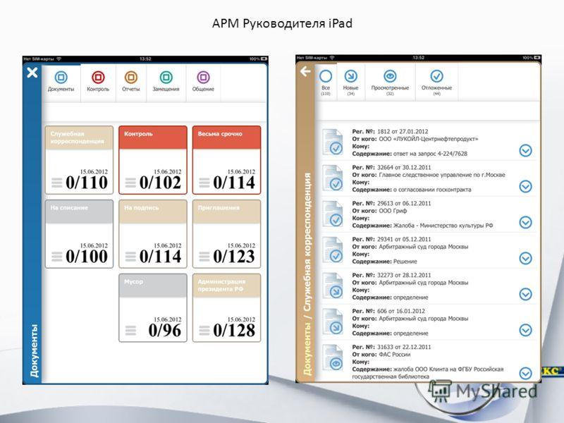 АРМ Руководителя iPad