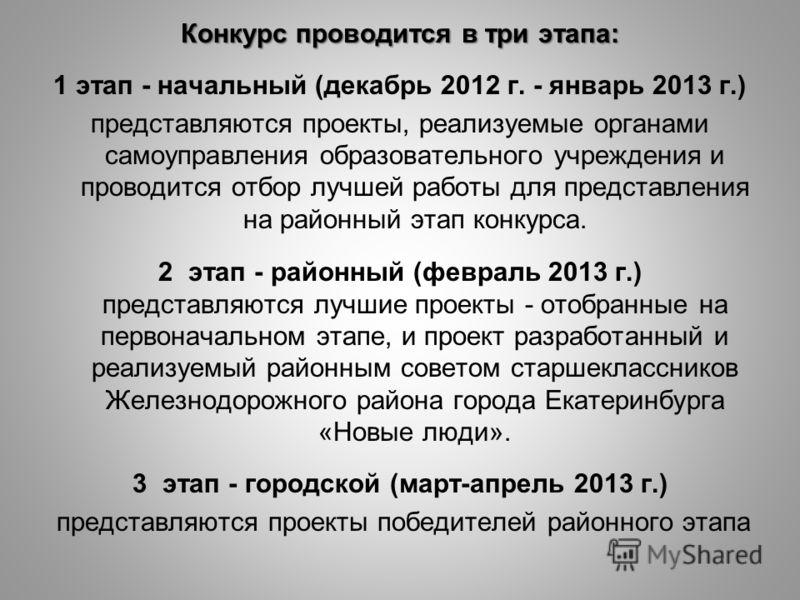 Конкурс проводится в три этапа: 1 этап - начальный (декабрь 2012 г. - январь 2013 г.) представляются проекты, реализуемые органами самоуправления образовательного учреждения и проводится отбор лучшей работы для представления на районный этап конкурса