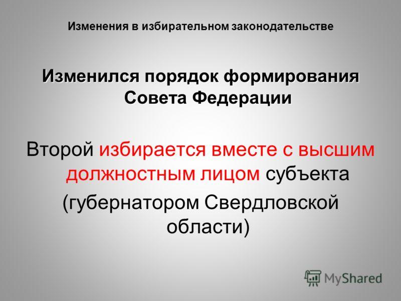 Изменения в избирательном законодательстве Изменился порядок формирования Совета Федерации Второй избирается вместе с высшим должностным лицом субъекта (губернатором Свердловской области)