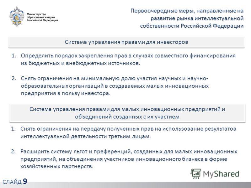 Первоочередные меры, направленные на развитие рынка интеллектуальной собственности Российской Федерации Система управления правами для инвесторов 1.Определить порядок закрепления прав в случаях совместного финансирования из бюджетных и внебюджетных и