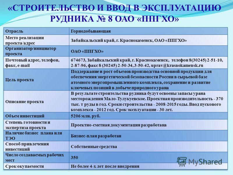 «СТРОИТЕЛЬСТВО И ВВОД В ЭКСПЛУАТАЦИЮ РУДНИКА 8 ОАО «ППГХО»