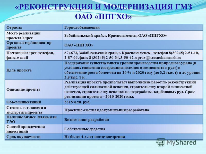 «РЕКОНСТРУКЦИЯ И МОДЕРНИЗАЦИЯ ГМЗ ОАО «ППГХО»
