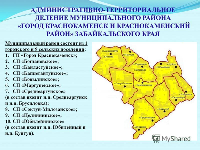 АДМИНИСТРАТИВНО-ТЕРРИТОРИАЛЬНОЕ ДЕЛЕНИЕ МУНИЦИПАЛЬНОГО РАЙОНА «ГОРОД КРАСНОКАМЕНСК И КРАСНОКАМЕНСКИЙ РАЙОН» ЗАБАЙКАЛЬСКОГО КРАЯ Муниципальный район состоит из 1 городского и 9 сельских поселений: 1. ГП «Город Краснокаменск»; 2. СП «Богдановское»; 3.