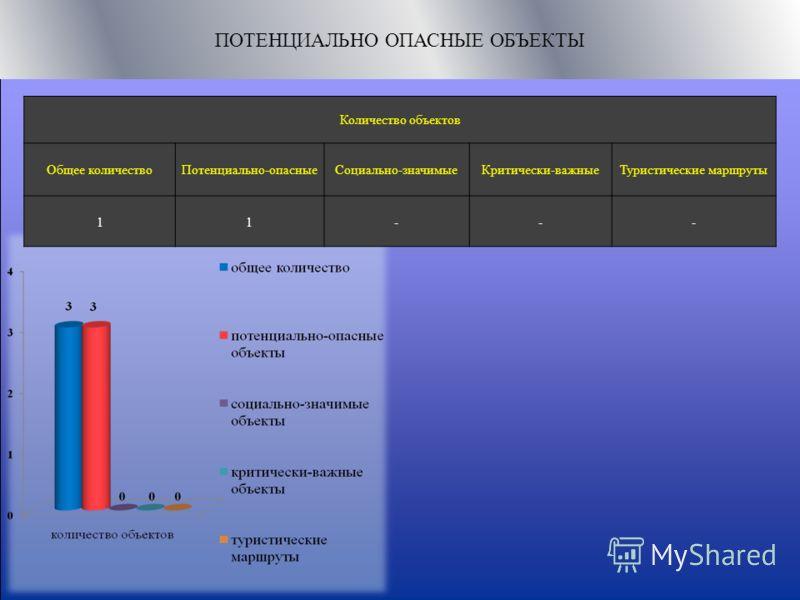 ПОТЕНЦИАЛЬНО ОПАСНЫЕ ОБЪЕКТЫ Количество объектов Общее количествоПотенциально-опасныеСоциально-значимыеКритически-важныеТуристические маршруты 11---