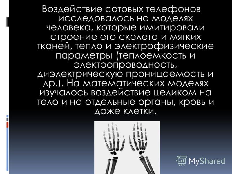 Воздействие сотовых телефонов исследовалось на моделях человека, которые имитировали строение его скелета и мягких тканей, тепло и электрофизические параметры (теплоемкость и электропроводность, диэлектрическую проницаемость и др.). На математических