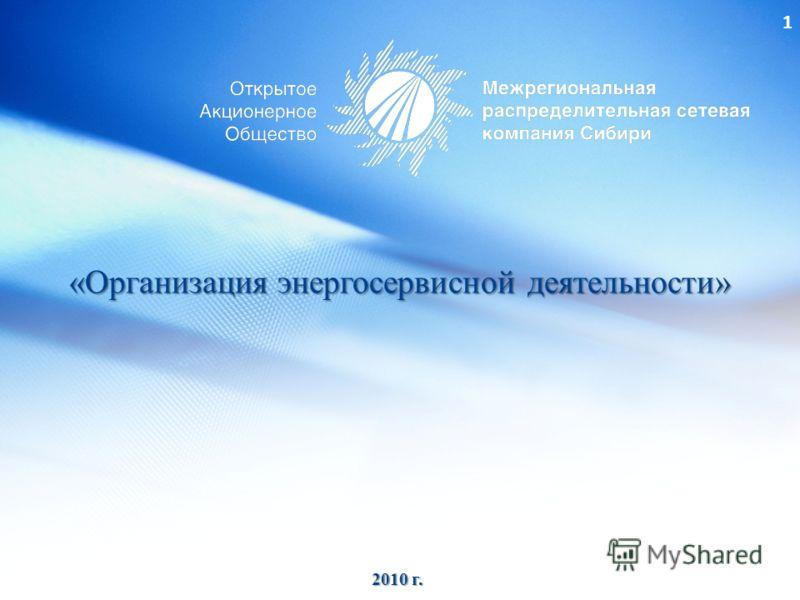 1 «Организация энергосервисной деятельности» 2010 г.