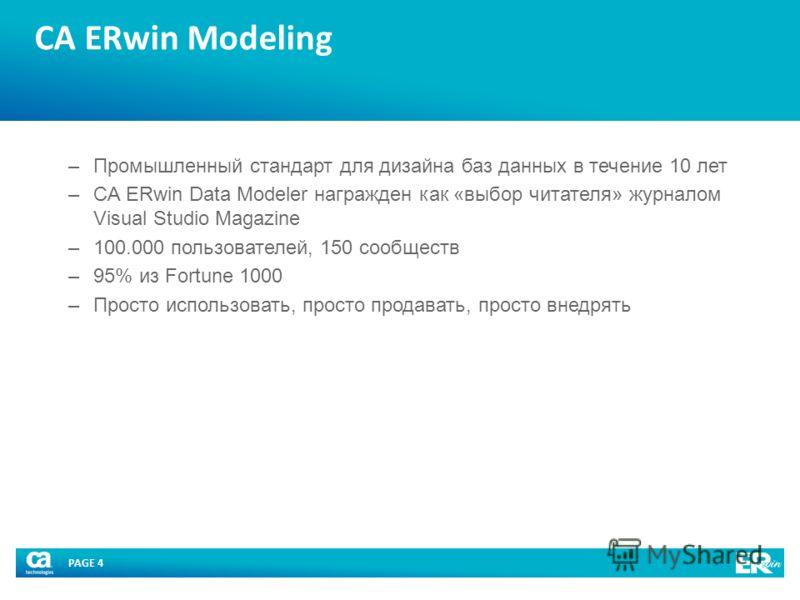 PAGE 4 CA ERwin Modeling –Промышленный стандарт для дизайна баз данных в течение 10 лет –CA ERwin Data Modeler награжден как «выбор читателя» журналом Visual Studio Magazine –100.000 пользователей, 150 сообществ –95% из Fortune 1000 –Просто использов
