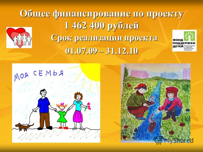 Общее финансирование по проекту 1 462 400 рублей Срок реализации проекта Срок реализации проекта 01.07.09 – 31.12.10