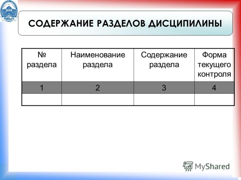 СОДЕРЖАНИЕ РАЗДЕЛОВ ДИСЦИПИЛИНЫ раздела Наименование раздела Содержание раздела Форма текущего контроля 1234