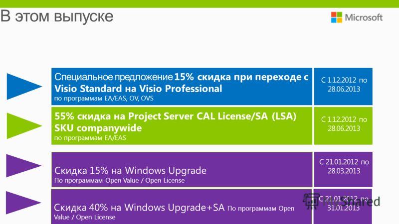 Cпециальное предложение 15% скидка при переходе c Visio Standard на Visio Professional по программам EA/EAS, OV, OVS 55% скидка на Project Server CAL License/SA (LSA) SKU companywide по программам EA/EAS Скидка 15% на Windows Upgrade По программам Op