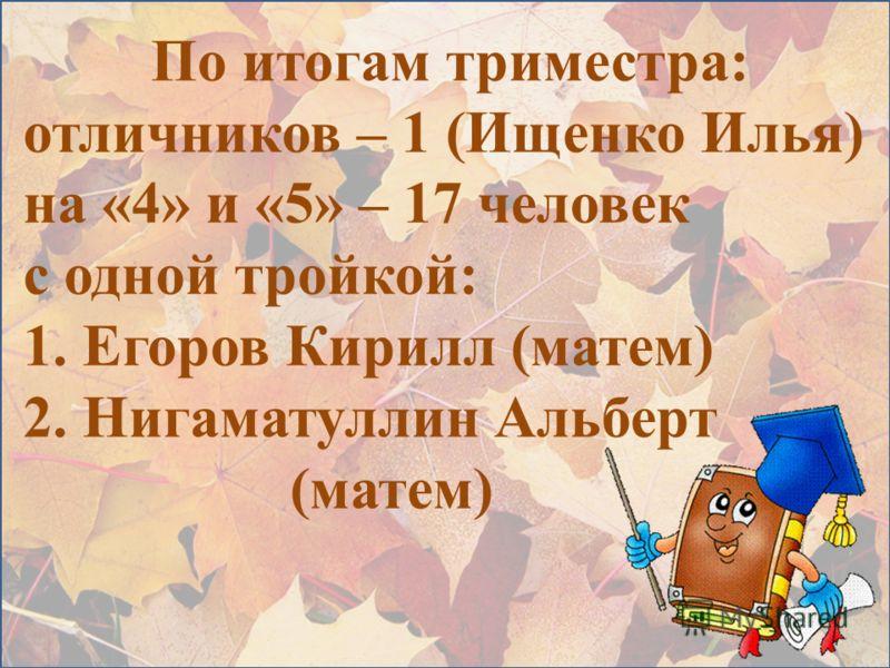 По итогам триместра: отличников – 1 (Ищенко Илья) на «4» и «5» – 17 человек с одной тройкой: 1. Егоров Кирилл (матем) 2. Нигаматуллин Альберт (матем)