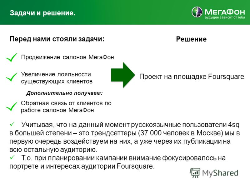 Задачи и решение. Решение Проект на площадке Foursquare Продвижение салонов МегаФон Увеличение лояльности существующих клиентов Обратная связь от клиентов по работе салонов МегаФон Перед нами стояли задачи: Дополнительно получаем: Учитывая, что на да