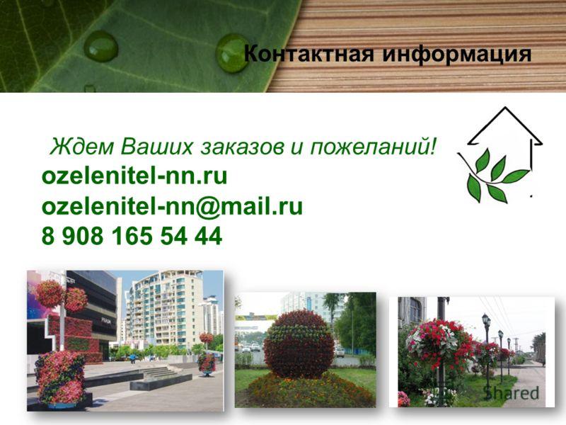 Контактная информация Ждем Ваших заказов и пожеланий! ozelenitel-nn.ru ozelenitel-nn@mail.ru 8 908 165 54 44