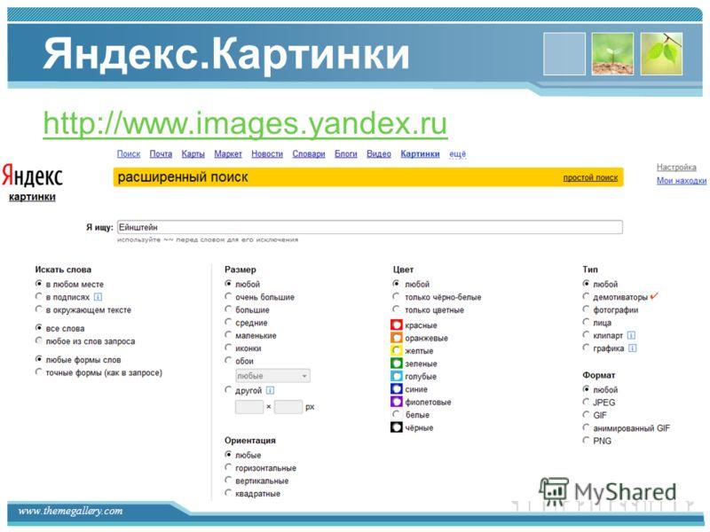 www.themegallery.com Яндекс.Картинки http://www.images.yandex.ru