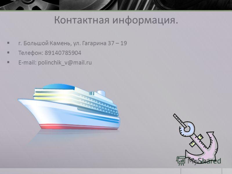 Контактная информация. г. Большой Камень, ул. Гагарина 37 – 19 Телефон: 89140785904 E-mail: polinchik_v@mail.ru