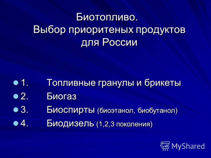 Биотопливо. Выбор приоритеных продуктов для России Биотопливо. Выбор приоритеных продуктов для России 1. Топливные гранулы и брикеты 1. Топливные гранулы и брикеты 2. Биогаз 2. Биогаз 3. Биоспирты (биоэтанол, биобутанол) 3. Биоспирты (биоэтанол, биоб