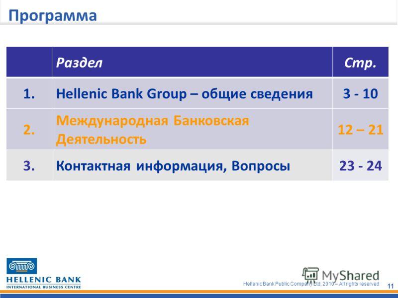 Hellenic Bank Public Company Ltd, 2010 – All rights reserved 11 Программа РазделСтр. 1.Hellenic Bank Group – общие сведения3 - 10 2. Международная Банковская Деятельность 12 – 21 3.Контактная информация, Вопросы23 - 24