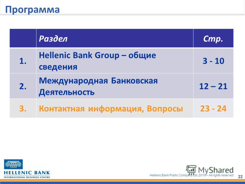 Hellenic Bank Public Company Ltd, 2010 – All rights reserved 22 Программа РазделСтр. 1. Hellenic Bank Group – общие сведения 3 - 10 2. Международная Банковская Деятельность 12 – 21 3.Контактная информация, Вопросы23 - 24