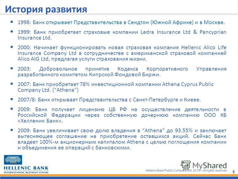 Hellenic Bank Public Company Ltd, 2010 – All rights reserved 5 История развития 1998: Банк открывает Представительства в Сендтон (Южной Африке) и в Москве. 1999: Банк приобретает страховые компании Ledra Insurance Ltd & Pancyprian Insurance Ltd. 2000