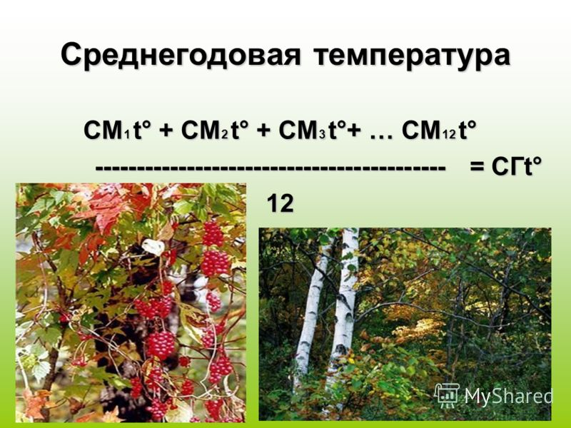 Среднегодовая температура СМ 1 t° + СМ 2 t° + СМ 3 t°+ … СМ 12 t° ------------------------------------------ = СГt° ------------------------------------------ = СГt°12