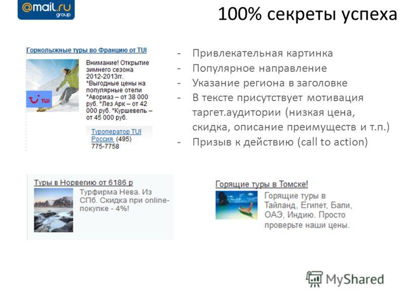 100% секреты успеха -Привлекательная картинка -Популярное направление -Указание региона в заголовке -В тексте присутствует мотивация таргет.аудитории (низкая цена, скидка, описание преимуществ и т.п.) -Призыв к действию (call to action)