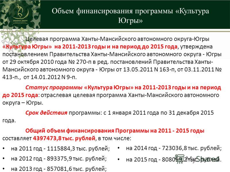Объем финансирования программы «Культура Югры» Целевая программа Ханты-Мансийского автономного округа-Югры «Культура Югры» на 2011-2013 годы и на период до 2015 года, утверждена постановлением Правительства Ханты-Мансийского автономного округа - Югры