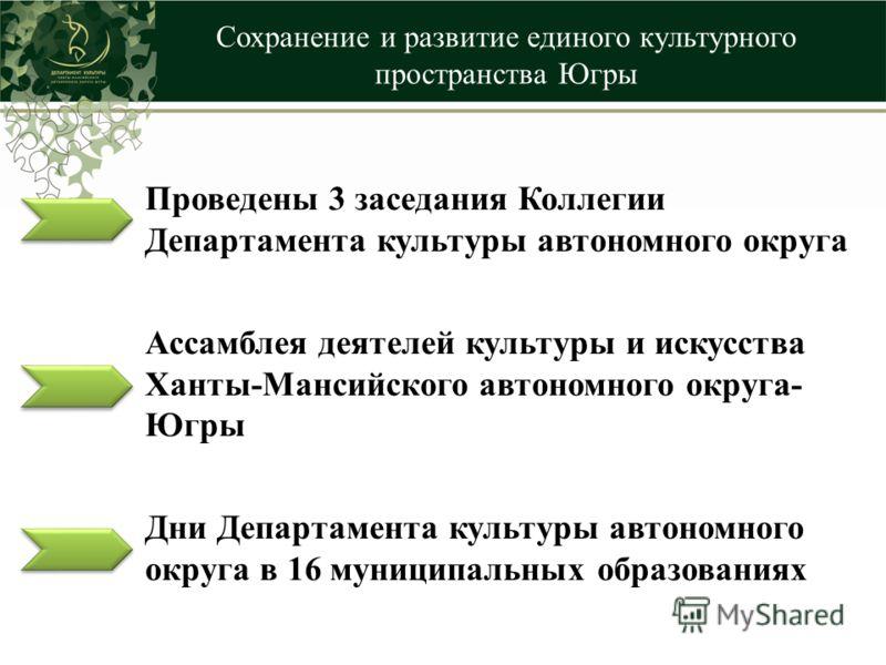 Сохранение и развитие единого культурного пространства Югры Проведены 3 заседания Коллегии Департамента культуры автономного округа Ассамблея деятелей культуры и искусства Ханты-Мансийского автономного округа- Югры Дни Департамента культуры автономно