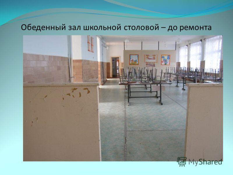 Обеденный зал школьной столовой – до ремонта