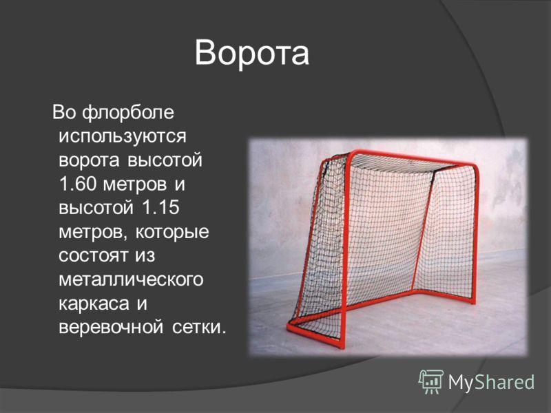Ворота Во флорболе используются ворота высотой 1.60 метров и высотой 1.15 метров, которые состоят из металлического каркаса и веревочной сетки.