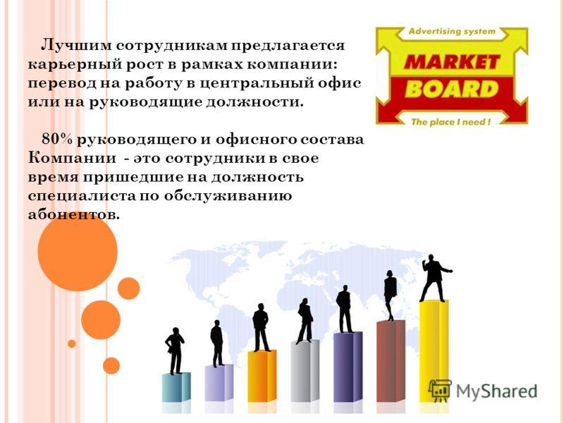 Лучшим сотрудникам предлагается карьерный рост в рамках компании: перевод на работу в центральный офис или на руководящие должности. 80% руководящего и офисного состава Компании - это сотрудники в свое время пришедшие на должность специалиста по обсл