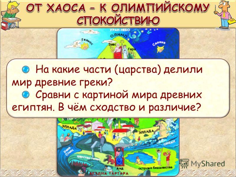 На какие части (царства) делили мир древние греки? Сравни с картиной мира древних египтян. В чём сходство и различие?