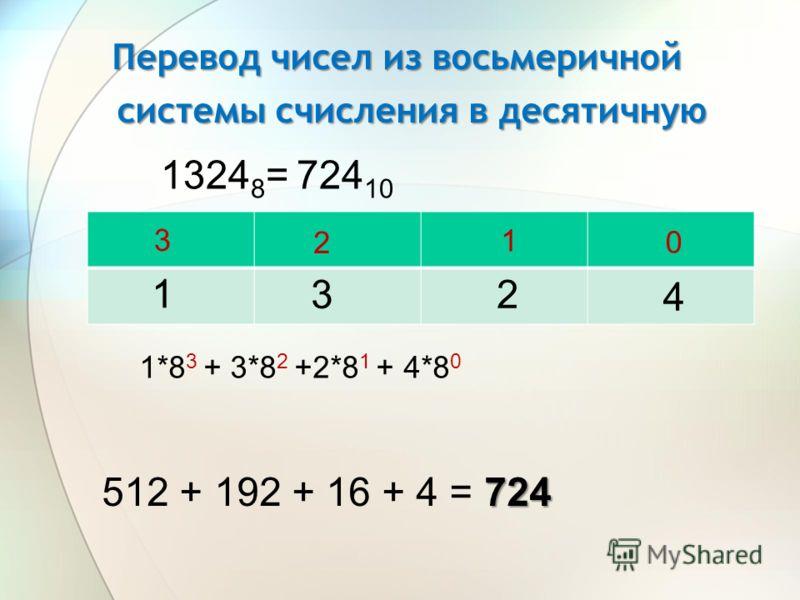 Перевод чисел из восьмеричной системы счисления в десятичную 1324 8 = 3 1 4 2 724 10 0 1 2 3 1*8 3 + 3*8 2 +2*8 1 + 4*8 0 724 512 + 192 + 16 + 4 = 724