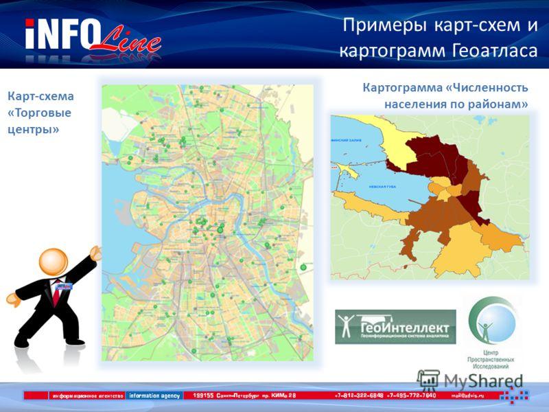 Примеры карт-схем и картограмм Геоатласа Карт-схема «Торговые центры» Картограмма «Численность населения по районам»