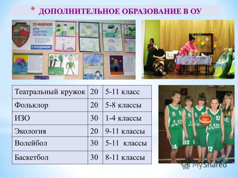 Театральный кружок205-11 класс Фольклор205-8 классы ИЗО301-4 классы Экология209-11 классы Волейбол305-11 классы Баскетбол308-11 классы