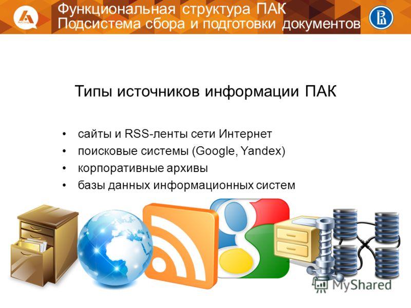 Функциональная структура ПАК Подсистема сбора и подготовки документов Типы источников информации ПАК сайты и RSS-ленты сети Интернет поисковые системы (Google, Yandex) корпоративные архивы базы данных информационных систем