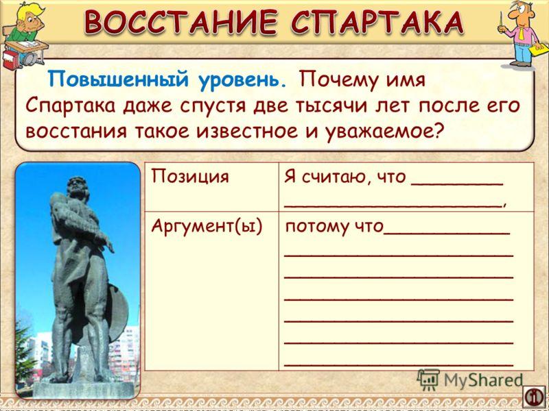 Повышенный уровень. Почему имя Спартака даже спустя две тысячи лет после его восстания такое известное и уважаемое? ПозицияЯ считаю, что ________ ___________________, Аргумент(ы)потому что___________ ________________________________________