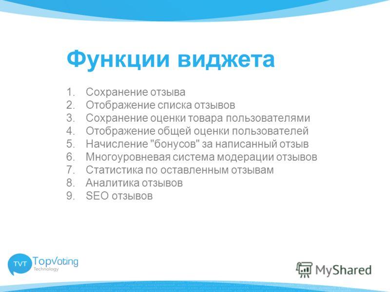 Функции виджета 1.Сохранение отзыва 2.Отображение списка отзывов 3.Сохранение оценки товара пользователями 4.Отображение общей оценки пользователей 5.Начисление