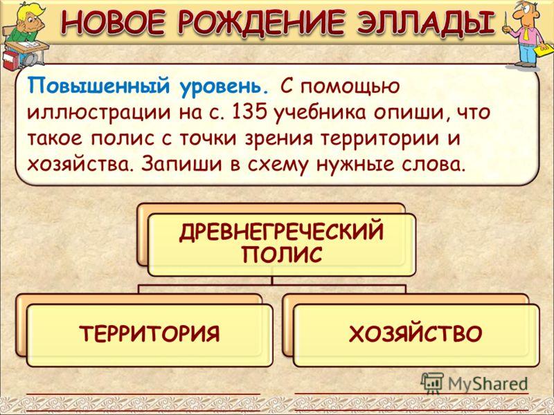 Повышенный уровень. С помощью иллюстрации на с. 135 учебника опиши, что такое полис с точки зрения территории и хозяйства. Запиши в схему нужные слова. ДРЕВНЕГРЕЧЕСКИЙ ПОЛИС ТЕРРИТОРИЯ ХОЗЯЙСТВО ___________________________