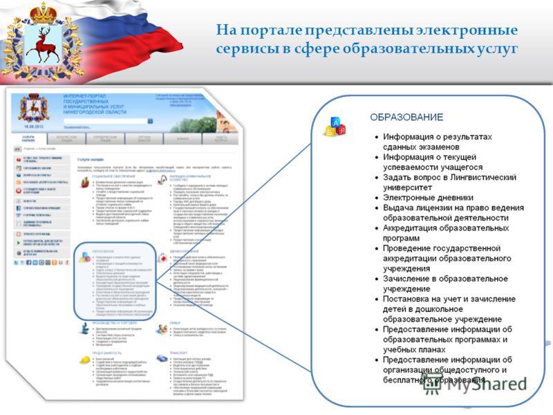 На портале представлены электронные сервисы в сфере образовательных услуг
